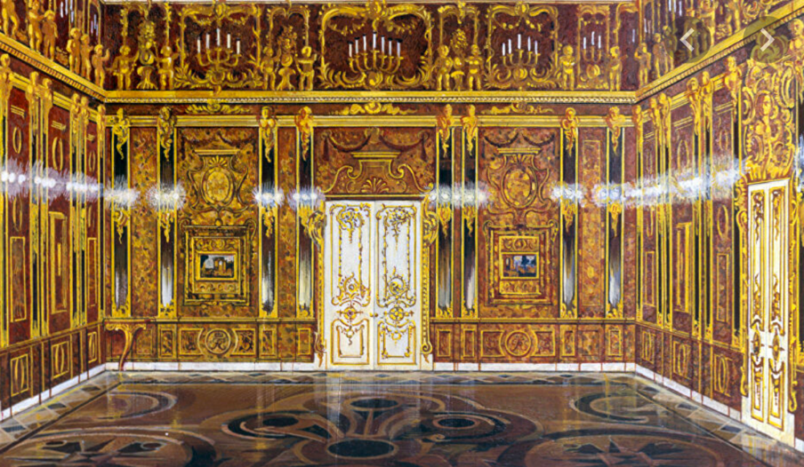 The Amber Room in the Catherine Palace near Saint Petersburg, in 1917
